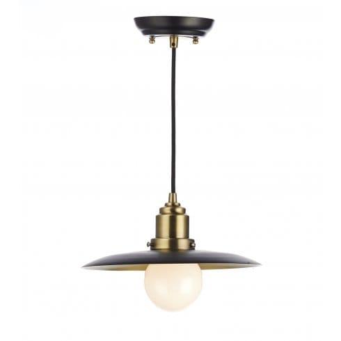 Dar Lighting Hannover Single Light Black And Antique Brass