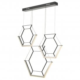Hexagon LED Bar Pendant in Black Finish