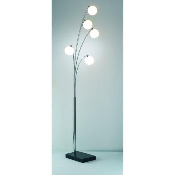 Dar lighting highgate 5 light floor lamp in polished chrome finish highgate 5 light floor lamp in polished chrome finish with white glass shades mozeypictures Image collections