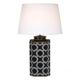 Hiram Single Light Table Lamp Base Only in Blue and White Finish