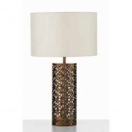 Hyde Single Light Table Lamp in Antique Gold Metal Finish With Ivory Faux Silk Shade