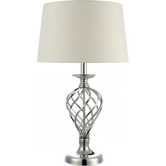 Dar lighting iffley single light large touch table lamp in polished iffley single light large touch table lamp in polished chrome finish with ivory shade aloadofball Images