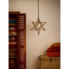 Ilario Single Light Large Ceiling Pendant In Antique Brass Finish With Glass Panelled Star Shade