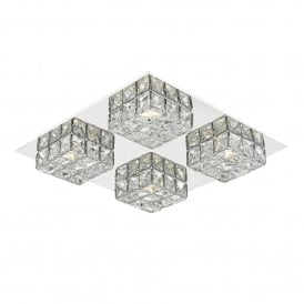 Imogen 4 Light LED Flush Ceiling Fitting In Polished Chrome And Crystal Finish