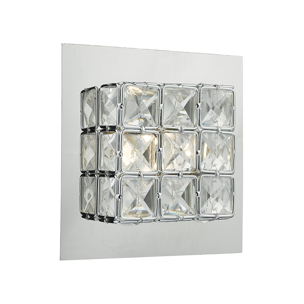 Dar Led Wall Lights : Dar Lighting Imogen Single Light LED Wall Fitting In Polished Chrome And Crystal Finish ...