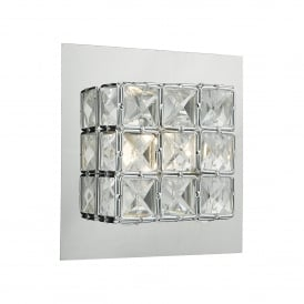 Imogen Single Light LED Wall Fitting In Polished Chrome And Crystal Finish