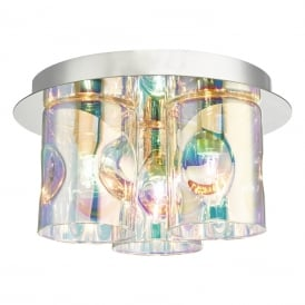 INT5350 Inter 3 Light Flush Ceiling Fitting in Polished Chrome Finish and Glass Shades