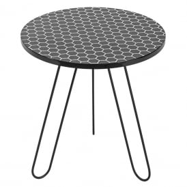 Islington Round Side Table With Black Honeycomb Top
