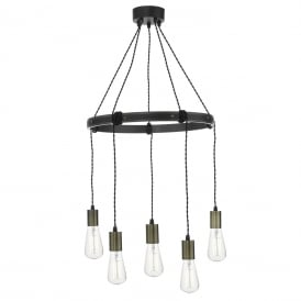 Ivan 5 Light Rustic Wooden Ceiling Pendant With Aged Brass Detail