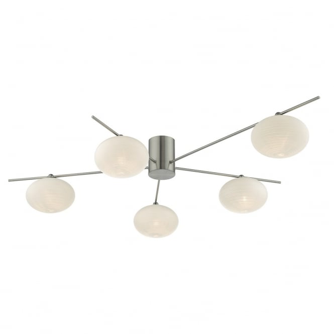Dar Lighting Jasper 5 Light Semi Flush Ceiling Fitting In Satin Chrome Finish