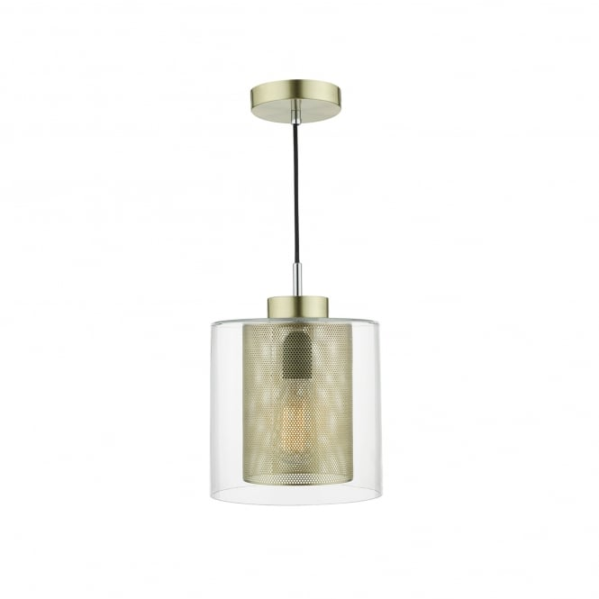 Dar Lighting Jaxen Single Light Ceiling Pendant In Clear Glass And Gold Finish