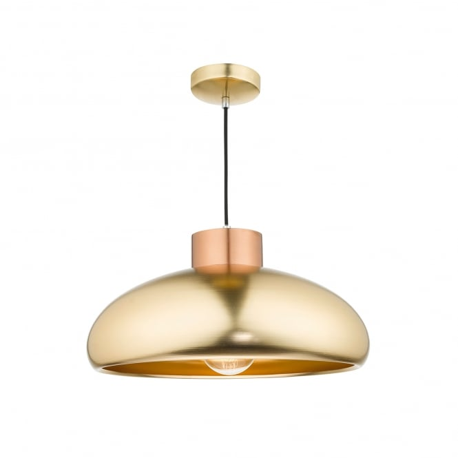 Dar Lighting Jayson Single Light Ceiling Pendant In Brushed Brass And Copper Finish