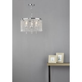 JOC0338 Jocelyn 3 Light Ceiling Pendant In Polished Nickel And Clear Crystal Finish