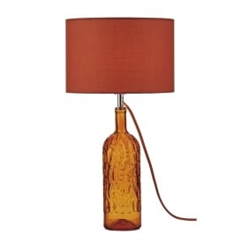 Jordan Single Light Table Lamp in Orange Stained Glass Finish with Shade