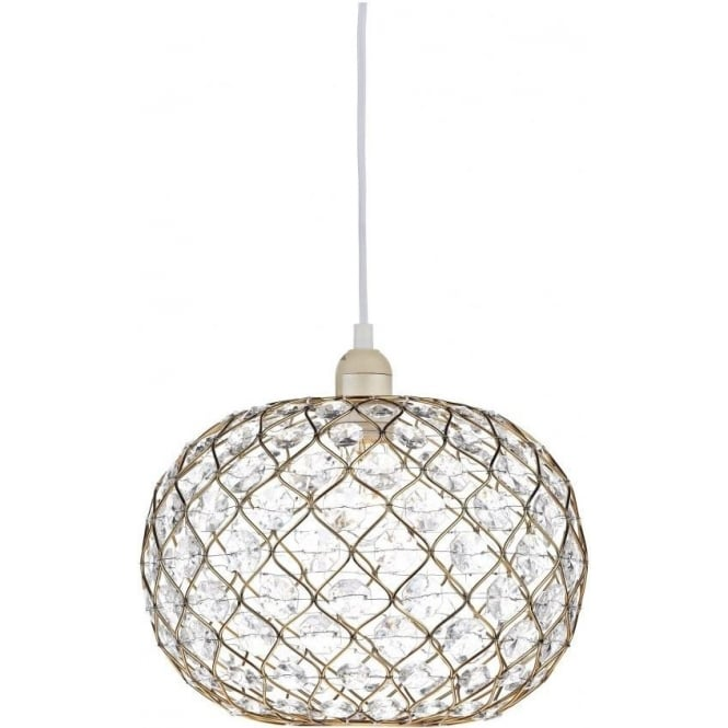 Dar Lighting Juanita Ceiling Light Pendant Shade In Gold Effect Finish With Acrylic Decoration