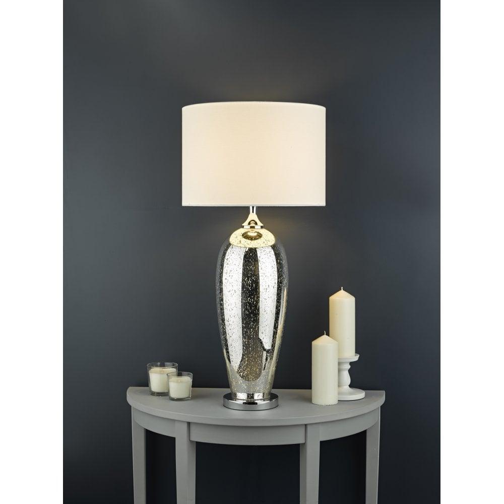 Dar Lighting Jut4232 Jutka Single Light Extra Large Glass Table Lamp Base Only In Silver Finish