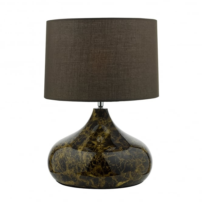 Dar Lighting Karim Single Light Table Lamp In Dark Brown Marble Effect Finish With Brown Cotton Shade