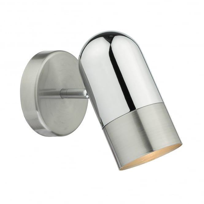 Dar Lighting Kazan Single Light Switched Wall Fitting In Satin And Polished Chrome Finish