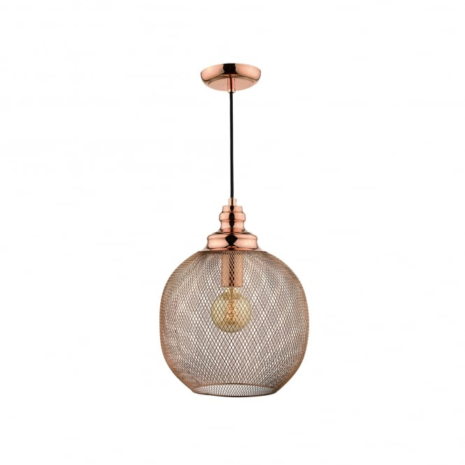 Dar Lighting Keaton Single Light Ceiling Pendant In Copper Finish