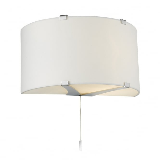 Dar Lighting Kennedy Single Light Wall Fitting In Polished Chrome Finish With White Cotton Shade