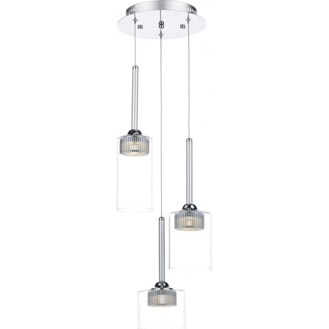 Dar Lighting Kirby 3 Light LED Ceiling Pendant in Polished Chrome with Glass Shades