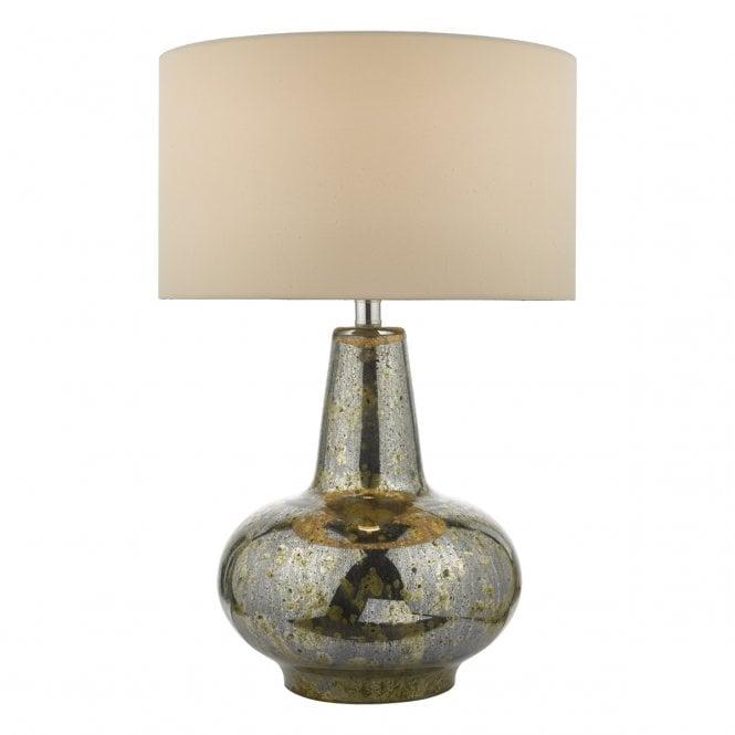 Dar Lighting Kishan Single Light Table Lamp Antique Mirror
