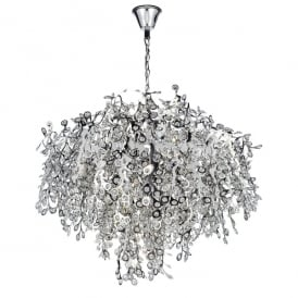 Konstantina 13 Light Ceiling Pendant in Polished Chrome Finish with Crystal Glass