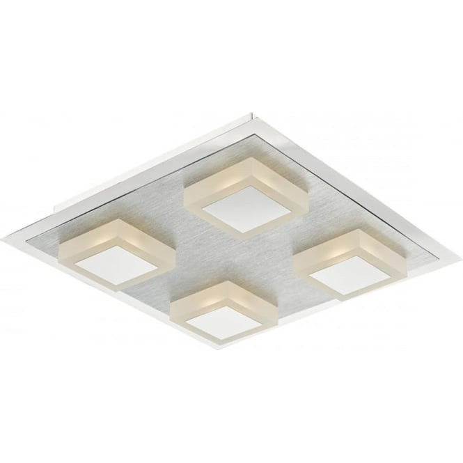 Dar Lighting Kris 4 Light LED Flush Ceiling Fitting in Satin Chrome and Polished Chrome Detail with Glass