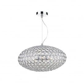 Kyrie 3 Light Ceiling Pendant In Polished Chrome And Crystal Finish