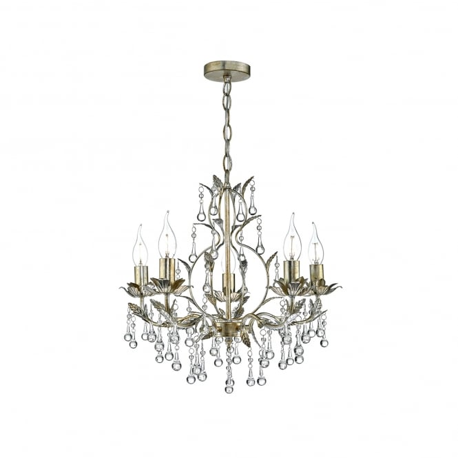 Dar Lighting Laquila 5 Light Chandelier Ceiling Pendant In Aged Gold And Silver Finish
