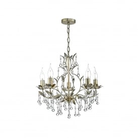 Laquila 5 Light Chandelier Ceiling Pendant In Aged Gold And Silver Finish