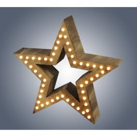 Large LED Wooden Star with Warm White LED's