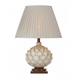 Layer Large Single Light Table Lamp in Distressed Cream With Cotton Empire Shade