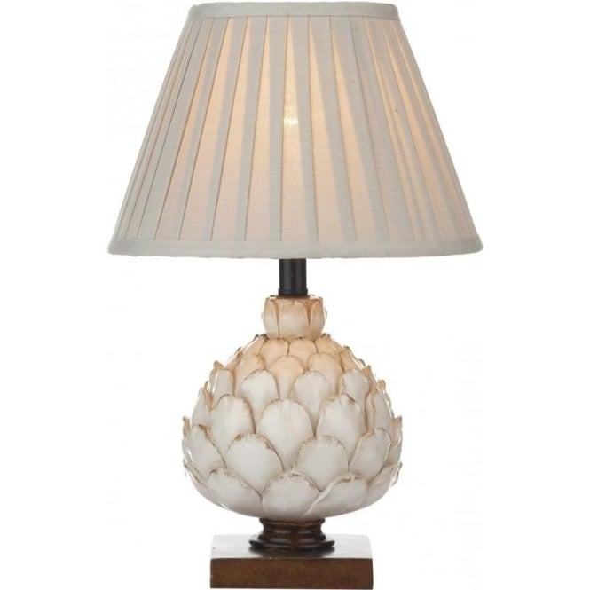 Dar Lighting Layer Single Light Distressed Cream Table Lamp With a Stone Cotton Shade