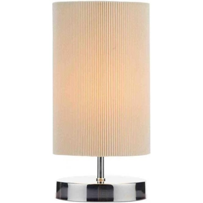 Dar Lighting Leo Single Light Touch Operated Table Lamp In Polished Chrome Finish