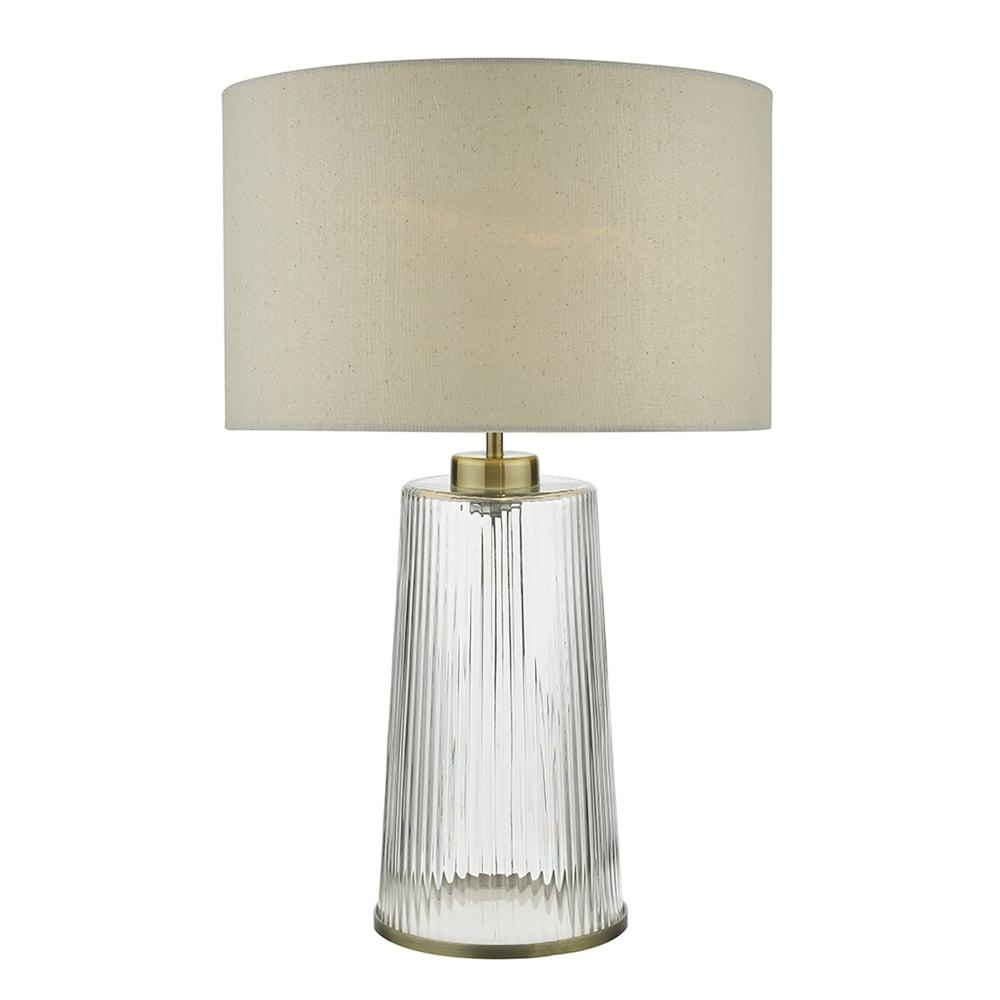 type dar lighting lira single light table lamp with ribbed glass base. Black Bedroom Furniture Sets. Home Design Ideas