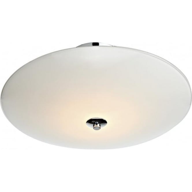 Dar Lighting Lisburn 3 Light Semi-Flush Ceiling Fixture with White and Frosted Glass