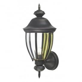 Lodge Single Light Outdoor Wall Fixture in a Black Gold Finish