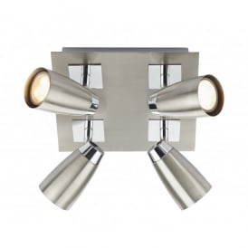 Loft 4 Light Low Energy Square Spotlight Fixture in Polished and Satin Chrome