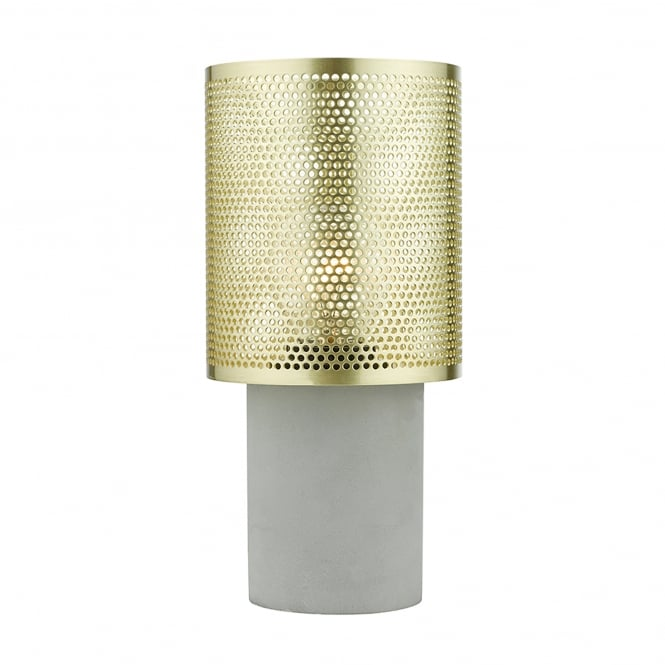Dar Lighting Loki Single Light Table Lamp With A Concrete Grey Base And Polished Brass Shade