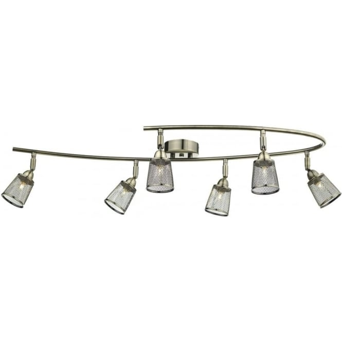 Dar Lighting Lowell 6 Light Semi Flush Ceiling Fitting in Antique Brass Finish