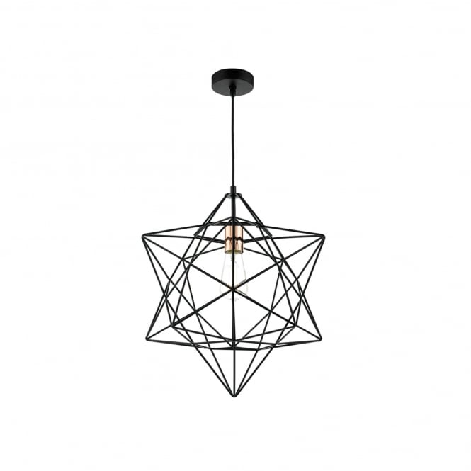 Dar Lighting Luanda Single Light Ceiling Pendant In Black And Copper Finish