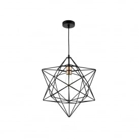 Luanda Single Light Ceiling Pendant In Black And Copper Finish