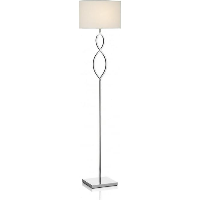 Dar lighting luigi single light floor lamp in polished chrome finish luigi single light floor lamp in polished chrome finish with cream oval shade aloadofball Choice Image