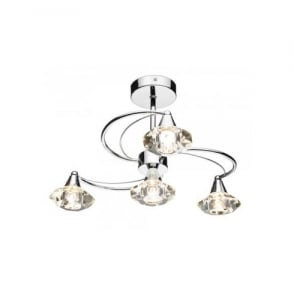 LUT0450 Luther 4 Light Semi Flush Ceiling Fitting in Polished Chrome Finish