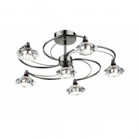 LUT0667 Luther 6 Light Semi-Flush Ceiling Fitting in a Black Chrome Finish