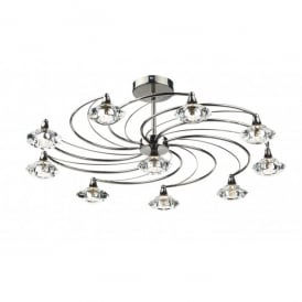 LUT2367 Luther 10 Light Semi-Flush Ceiling Fitting in a Black Chrome Finish