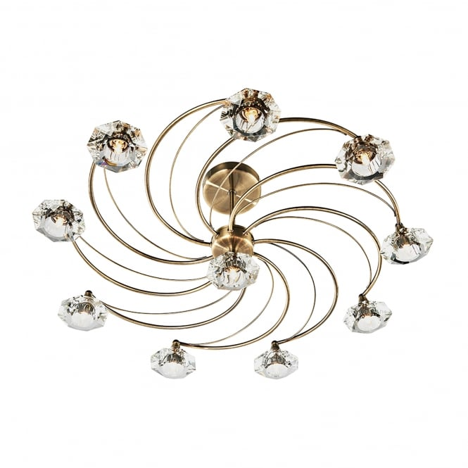 Dar Lighting Luther 10 Light Ceiling Fitting in Antique Brass Finish