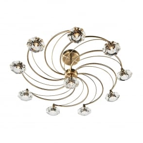 Luther 10 Light Ceiling Fitting in Antique Brass Finish
