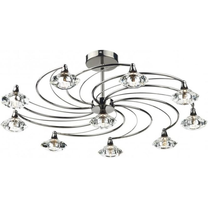 Dar Lighting Luther 10 Light Semi-Flush Ceiling Fitting in a Black Chrome Finish